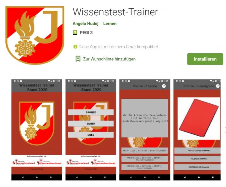 Wissenstest Trainer App weiterentwickelt
